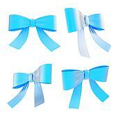 Decorational ribbon bow set isolated
