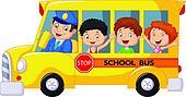 Happy children cartoon on a school