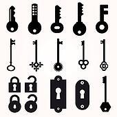 Icon Key, Black Silhouette Vector