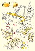Cheese factory illustrationIllustration show how the yellow yummy cheeses are made in the factory through all the steps