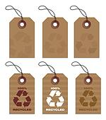 recycled tags brown