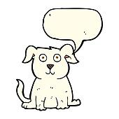 cartoon happy dog with speech bubble