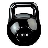 Finance concept: Black kettlebell with word credit