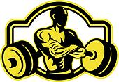 Weightlifter Arms Crossed Barbell Retro