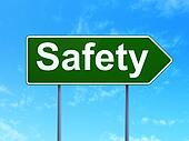 Privacy concept: Safety on road sign background