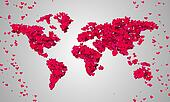 World Map Red Love Shape Particles