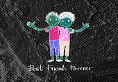 Happy Friendship Day and Best Friends Forever on wall texture ba