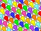 Diagonal lightbulbs background of rainbow colours