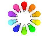 Lightbulbs kaleidoscope of rainbow colours