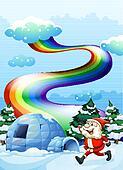 A happy Santa walking near the igloo under the rainbow
