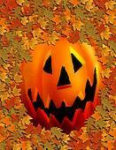 Jack O Lantern and Leaves