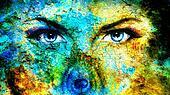 pair of beautiful blue women eyes
