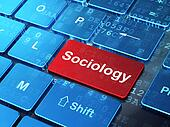 Studying concept: Sociology on computer keyboard background