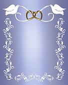 Wedding Doves on Blue Satin