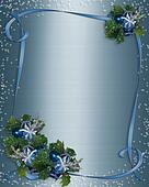 Christmas border Blue ribbons