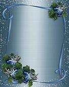 Christmas border Blue ribbons