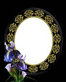 Iris and Oval frame on black