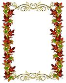 Autumn Fall Leaves Border Frame
