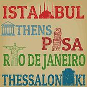 Istanbul, Athens, Pisa, Rio de Janeiro and Thessaloniki stamps