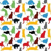 Seamless with colorful cats silhoue