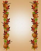 Autumn Fall Leaves Border Canvas