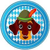 Oktoberfest circle dog button