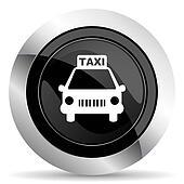 taxi icon, black chrome button