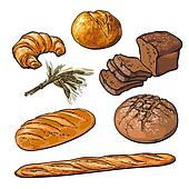 Fresh pastries, crisp bread isolated