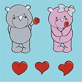 rhino baby love cartoon rose set