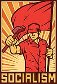 worker holding flag and hammer