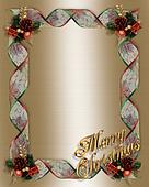Christmas Ribbons frame Gold Text