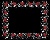 Red Hearts on Black Invitation