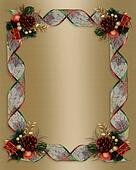 Christmas Ribbons frame gold satin