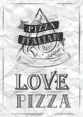 Poster love pizza. Crumpled paper.