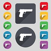 gun icon sign. A set of 12 colored buttons and a long shadow. Flat design.