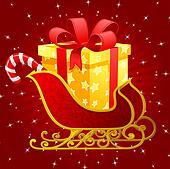 Santa Claus sleigh with presents
