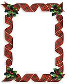 Christmas Ribbons Frame Holly