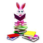 Bunny with book stack