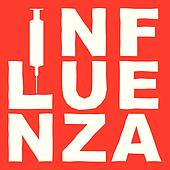 the word influenza and a syringe in white on red, vector