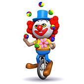 3d Clown juggles on a unicycle
