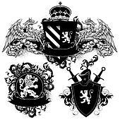 ornamental heraldic shields