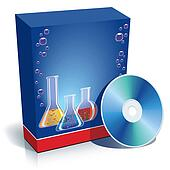 Box with laboratory glasses and CD