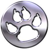 3D Silver Dog Print