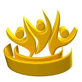 Logo gold teamwork 3D people icon