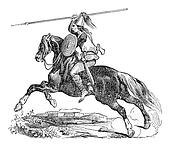 Breton chief, vintage engraving.