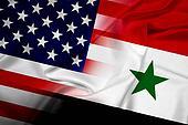 Waving USA and Syria Flag