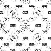 Surfing Seamless pattern with van. Surfer club badge. Summer wallpaper printing design adventure symbols - combi, rv trailer. Monochrome . Use for print or web projects