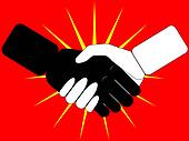 handshake on red