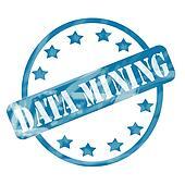 Blue Weathered Data Mining Stamp Circle and Stars