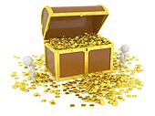 Huge 3D Treasure Chest with gold